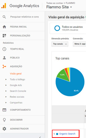 Google Analytics - acessos orgânicos