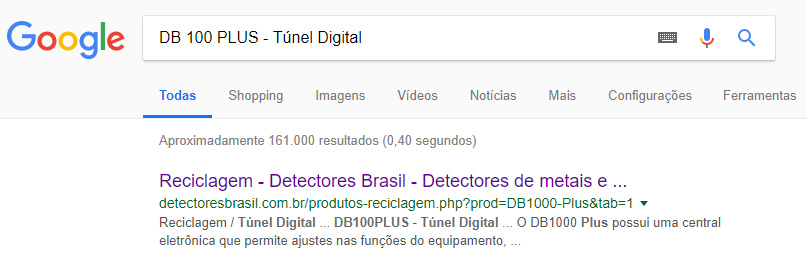 Endereços das páginas - resultados no Google