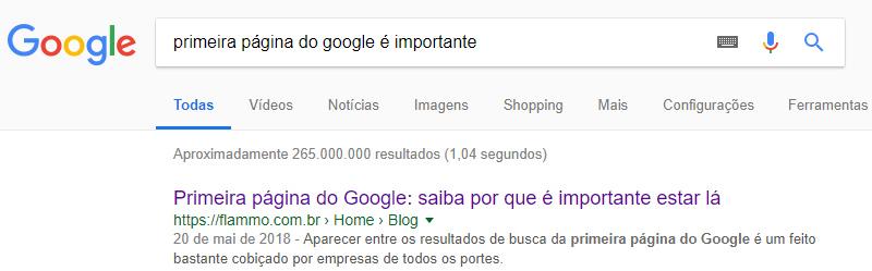 Exemplo de resultado de busca - Google