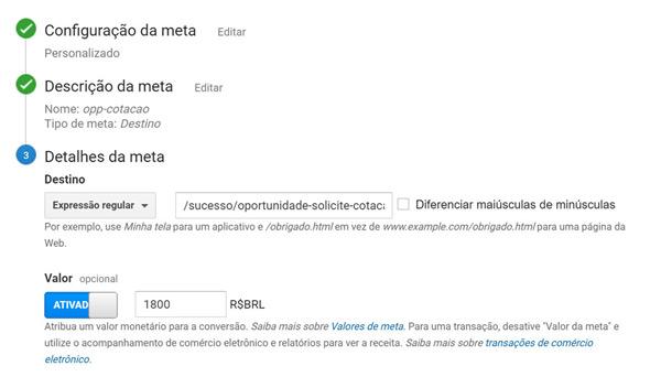 Google Analytics - detalhes da meta