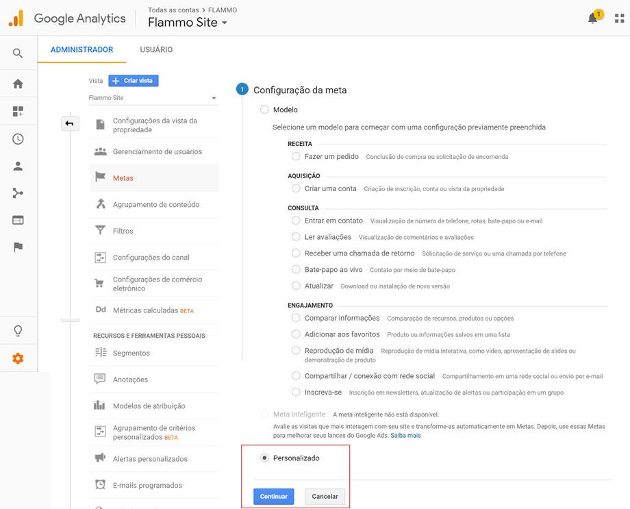 Google Analytics - Meta personalizada