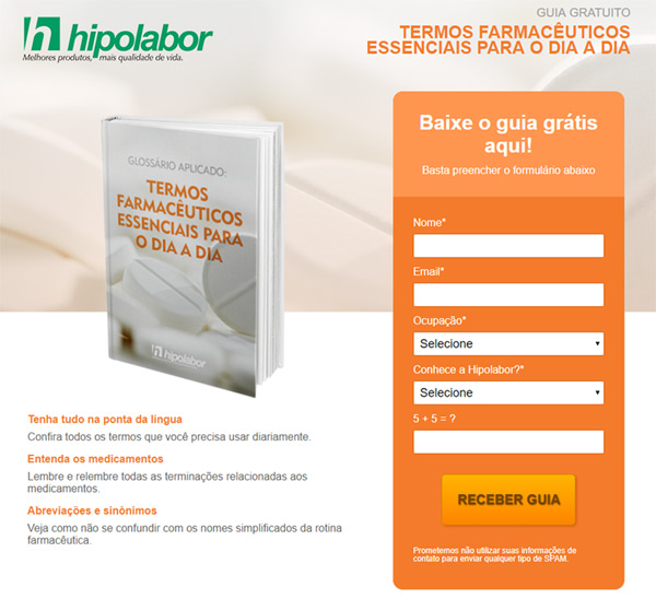 Hipolabor - landing page material rico