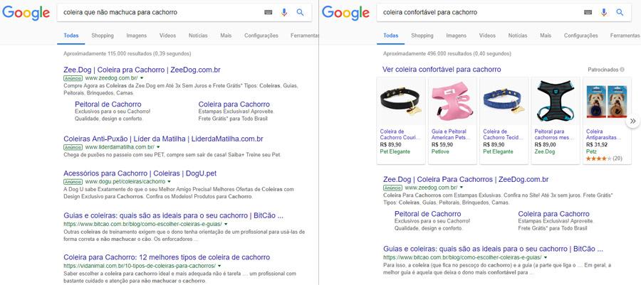 Volume de busca - resultados no Google