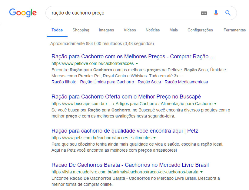 Resultados Google - intenção de busca