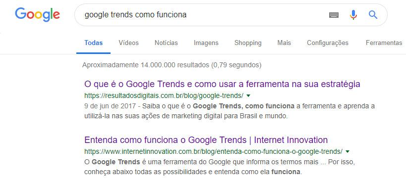 Google Trends como funciona - resultado de busca