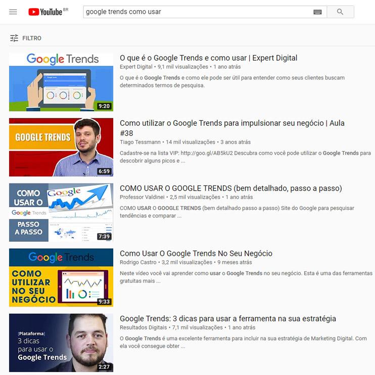 Google Trends como usar - pesquisa no youtube