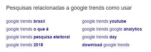 Google Trends como usar - pesquisas relacionadas