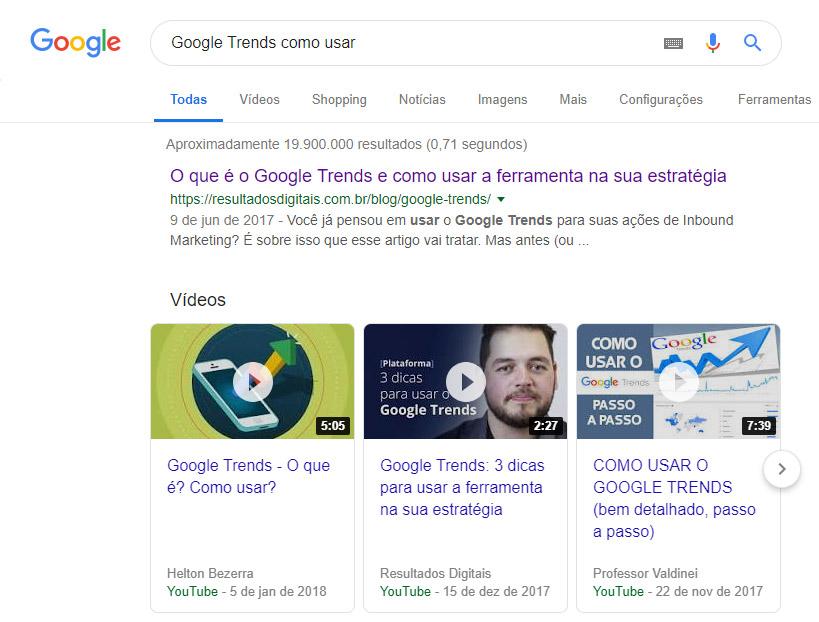 Google Trends como usar - resultado de busca