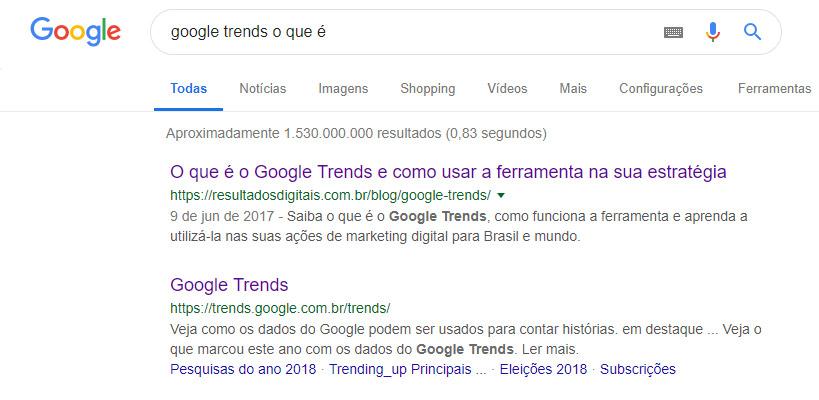 Google Trends o que é - resultado de busca