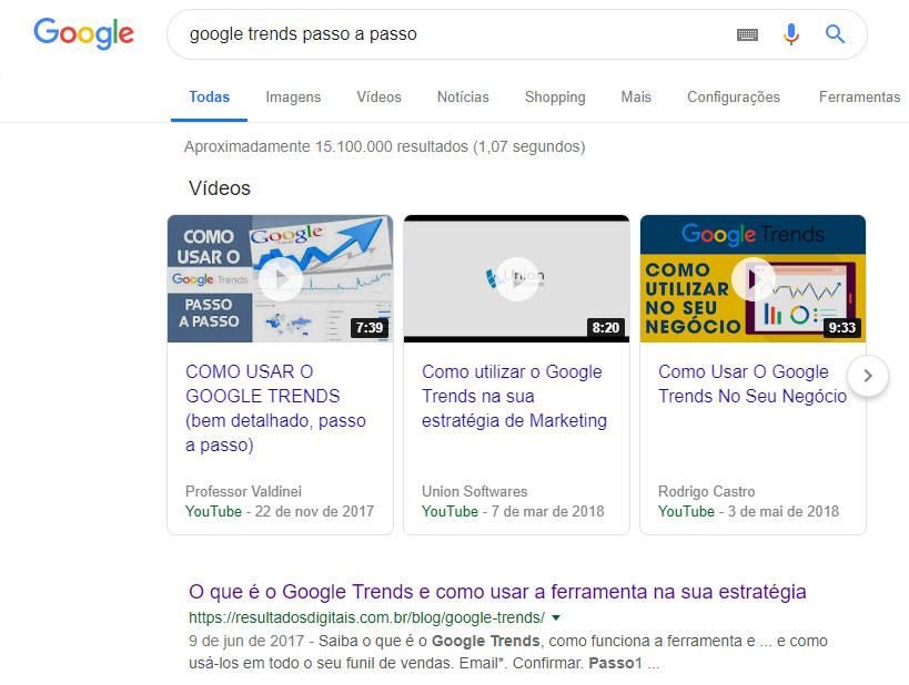 Google Trends passo a passo - resultado de busca