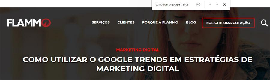 Texto Flammo Google trends - presença palavra-chave