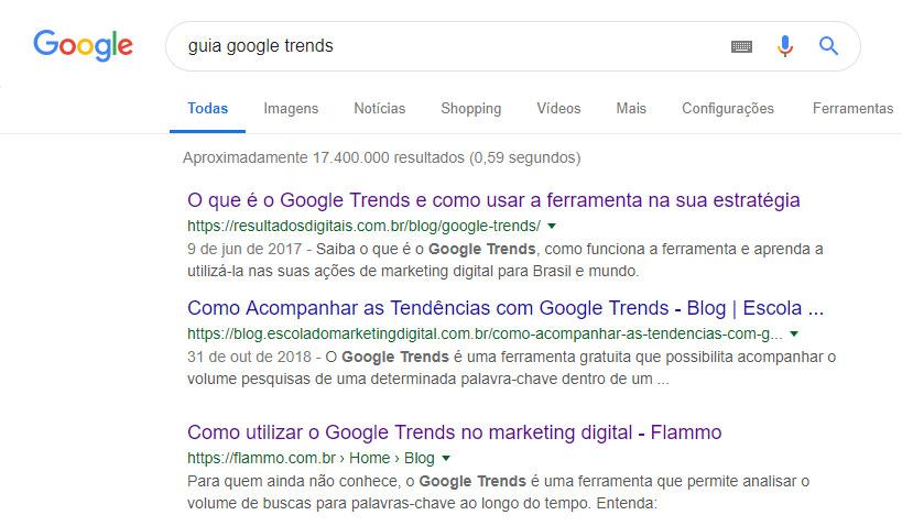 Guia Google Trends - resultado de busca