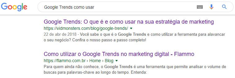 URL - resultados de busca