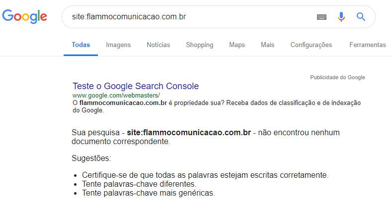 Não indexação - teste no Google