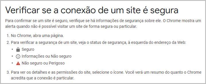 Site seguro - ajuda Google