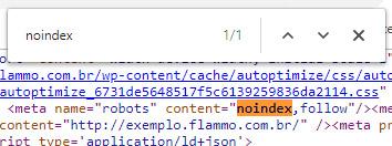 Exemplo - meta name robots noindex