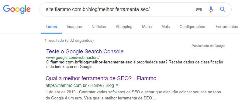Exemplo - página está no Google
