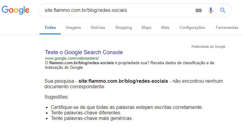 Exemplo - página não está no Google