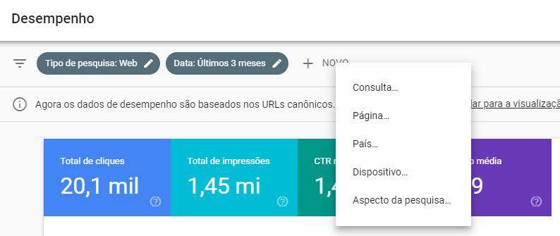 Google Search Console - desempenho filtros topo