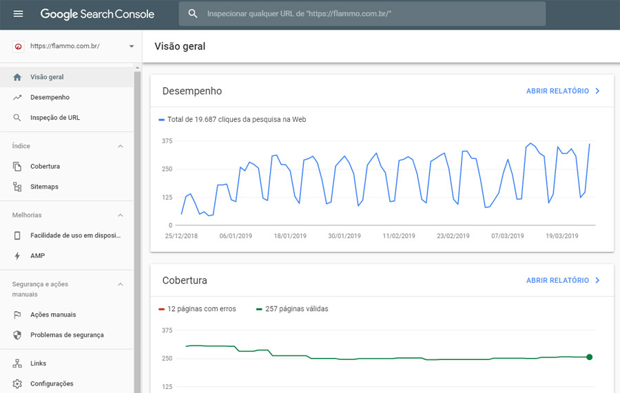 Google Search Console - interface