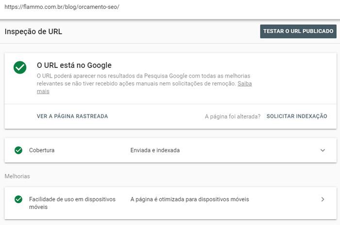 Inspecionar URL - URL está no Google