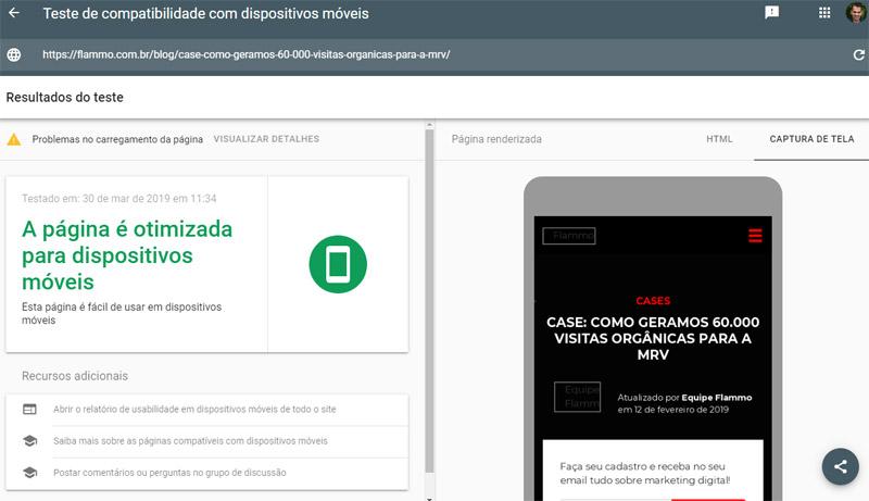 Google Search Console - teste de compatibilidade com dispositivos móveis