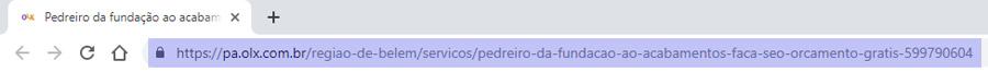 Endereço da página no navegador - exemplo ruim