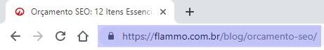 Endereço da página no navegador - exemplo