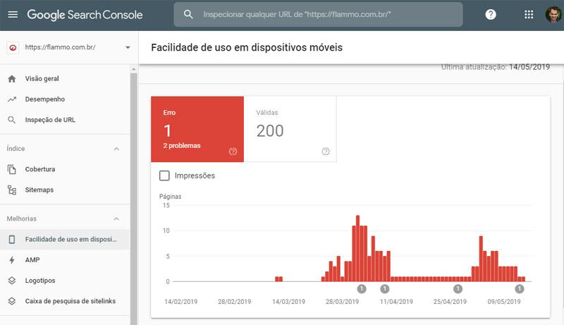 Google Search Console - relatório facilidade de uso em dispositivos móveis