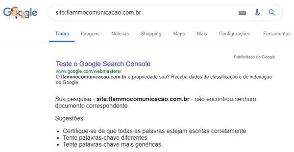Site não indexado - exemplo