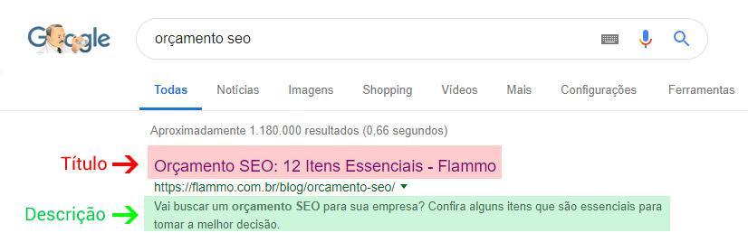 Título e descrição das páginas no Google - exemplo