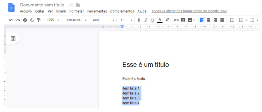 Editar lista - Documentos Google