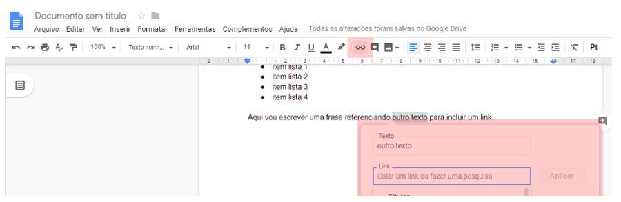 Inserir link barra de ferramentas - Documentos Google