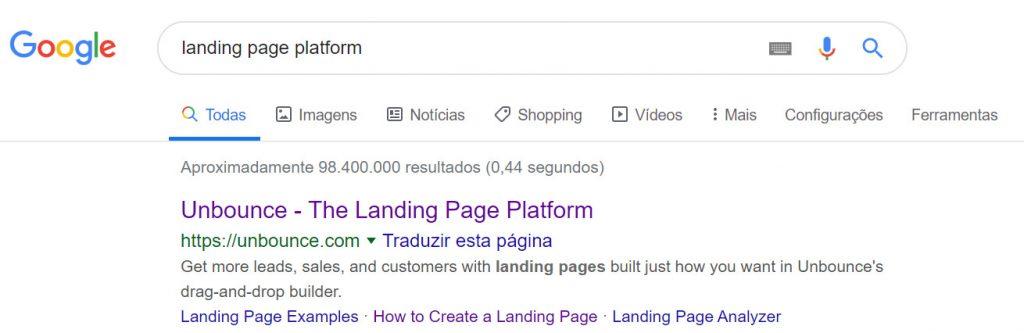 Exemplo conteúdo SEO no Google - Unbounce