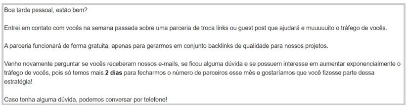 Exemplo de pedido de troca de link