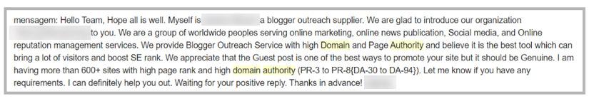 Pedido de troca de link citando DA e PR